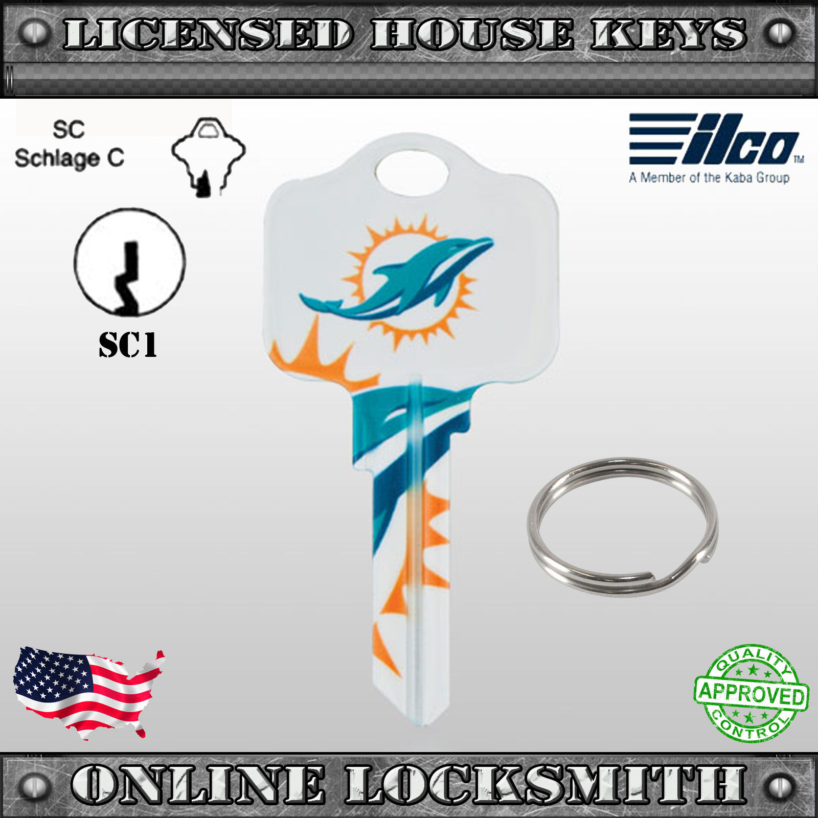 Sc1 Uncut Officially Nfl Licensed Key Miami Dolphins