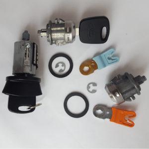 Ford Ignition Switch Cylinder, 2 Door Lock Cylinders 2 Transponder OEM Logo Keys