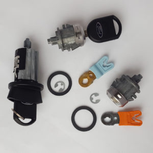 Ford Ignition Switch Cylinder, 2 Door Lock Cylinders 2 Transponder Keys w/ Logo